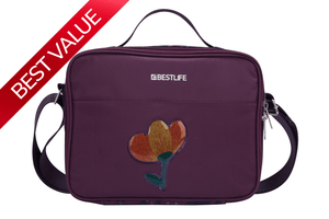 Bestlife Big Flower Lunch Tote - Purple - Luggage City