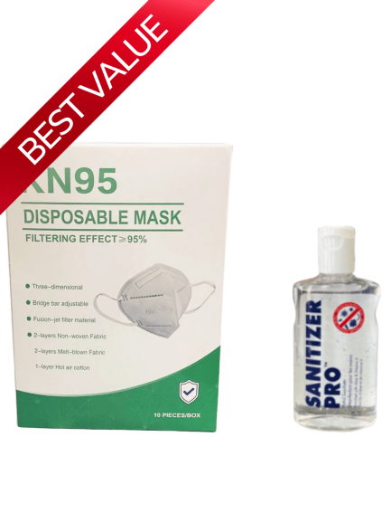 KN95 DISPOSABLE FACE MASKS 10PCS + HAND SANITIZER - Luggage City
