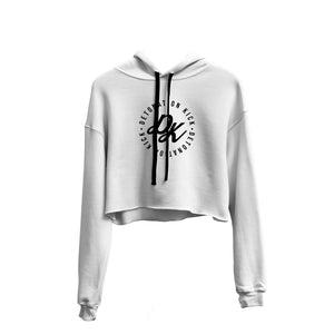 Womens Detonation Kick Prime Crop Top Hoodie White