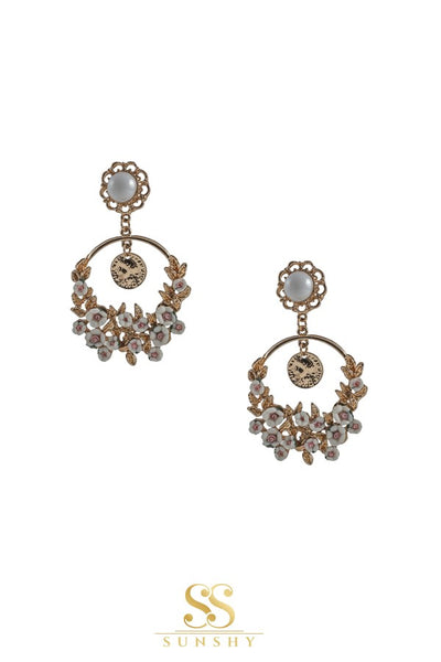 White Floral Fusion Wear Earrings