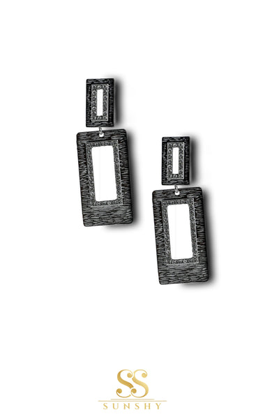 Juliana Black Metal Rectangle Earrings