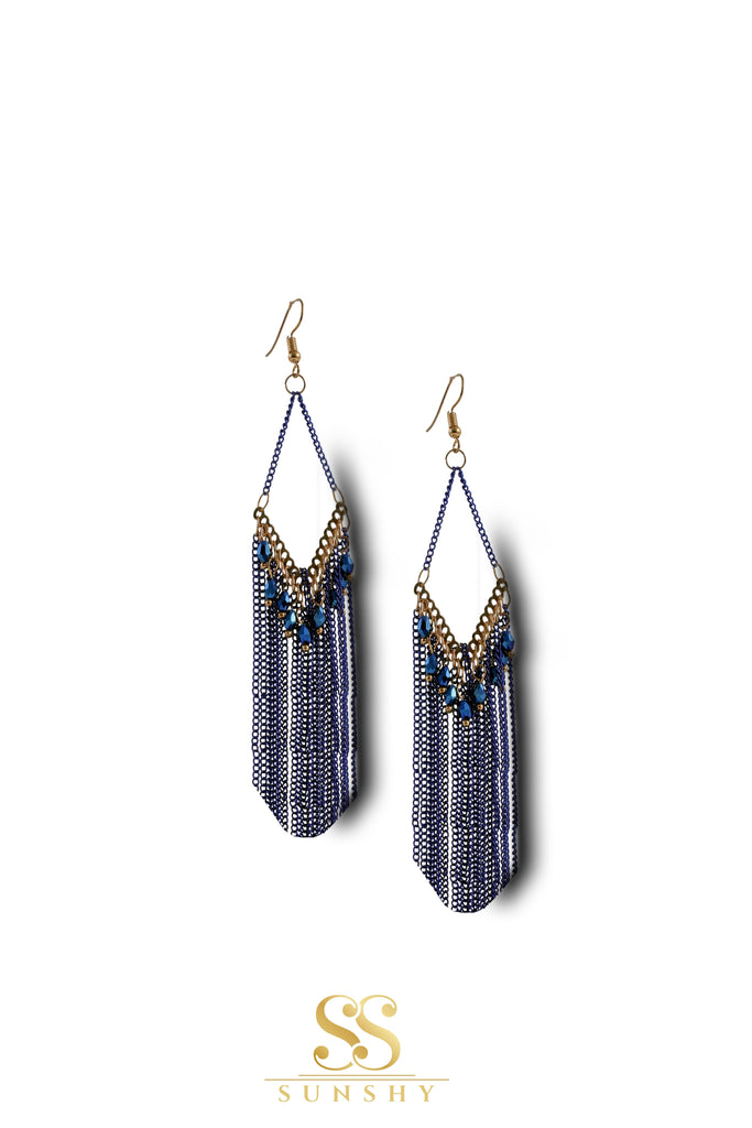 Blue Chain Drop Long Earrings
