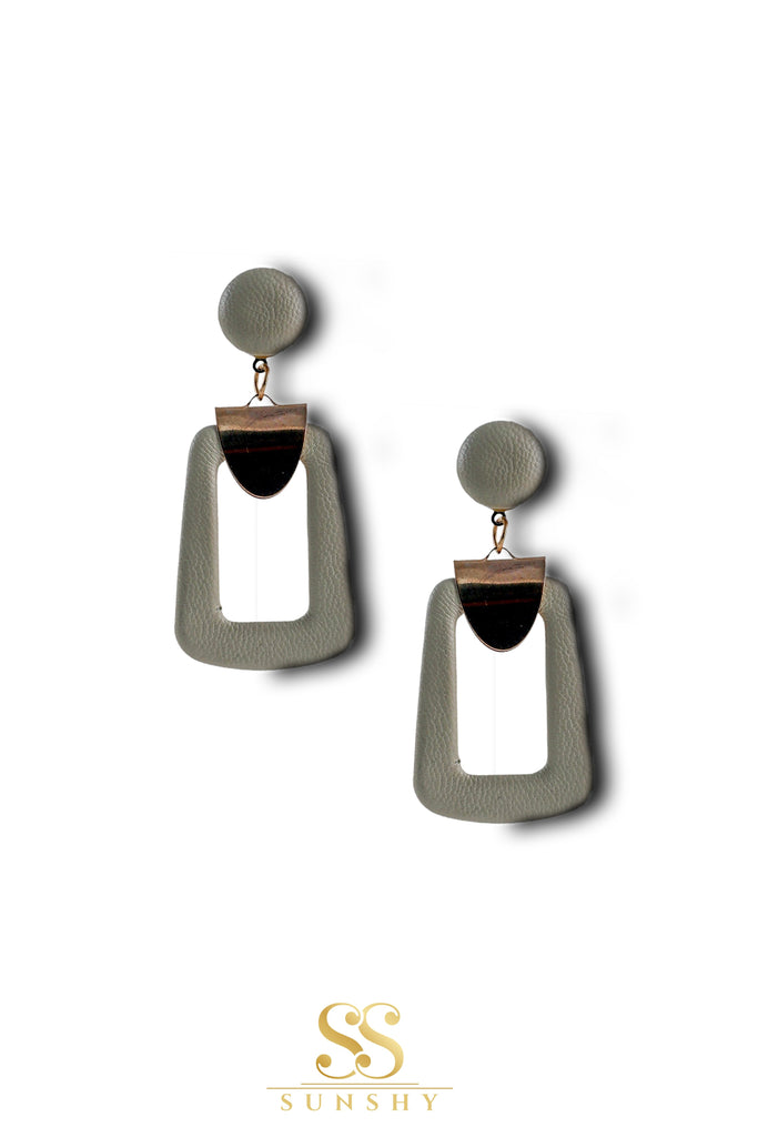 Silviana Leather Rectangle Drop Earrings