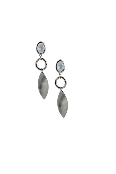 Stone Stud White Metal Drop Earrings