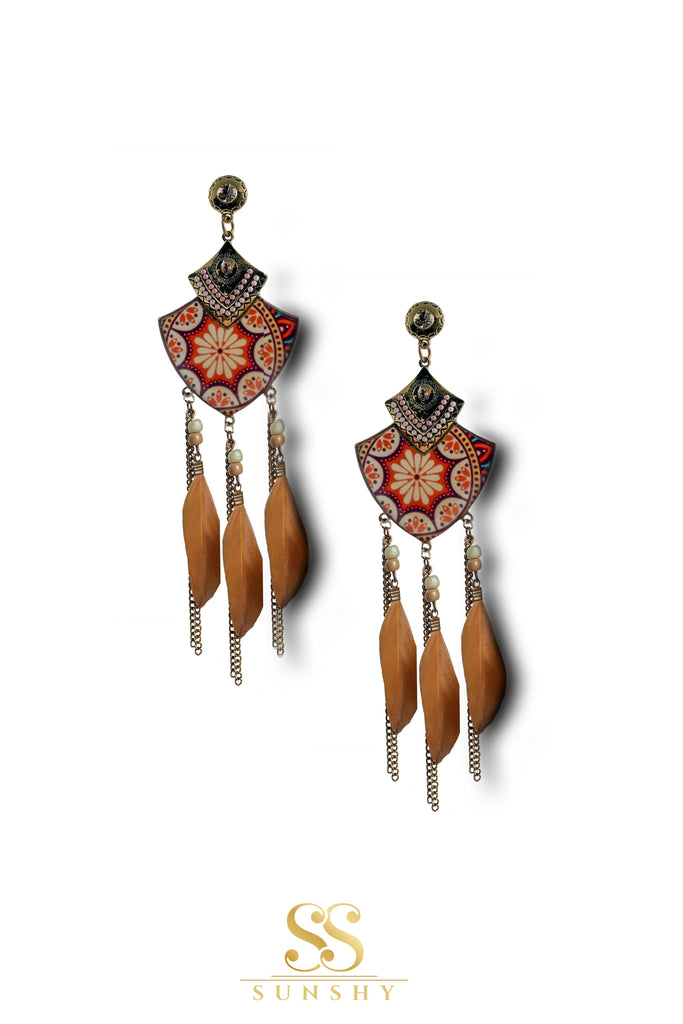 Silvieala Boho Feather Drop Long Earrings