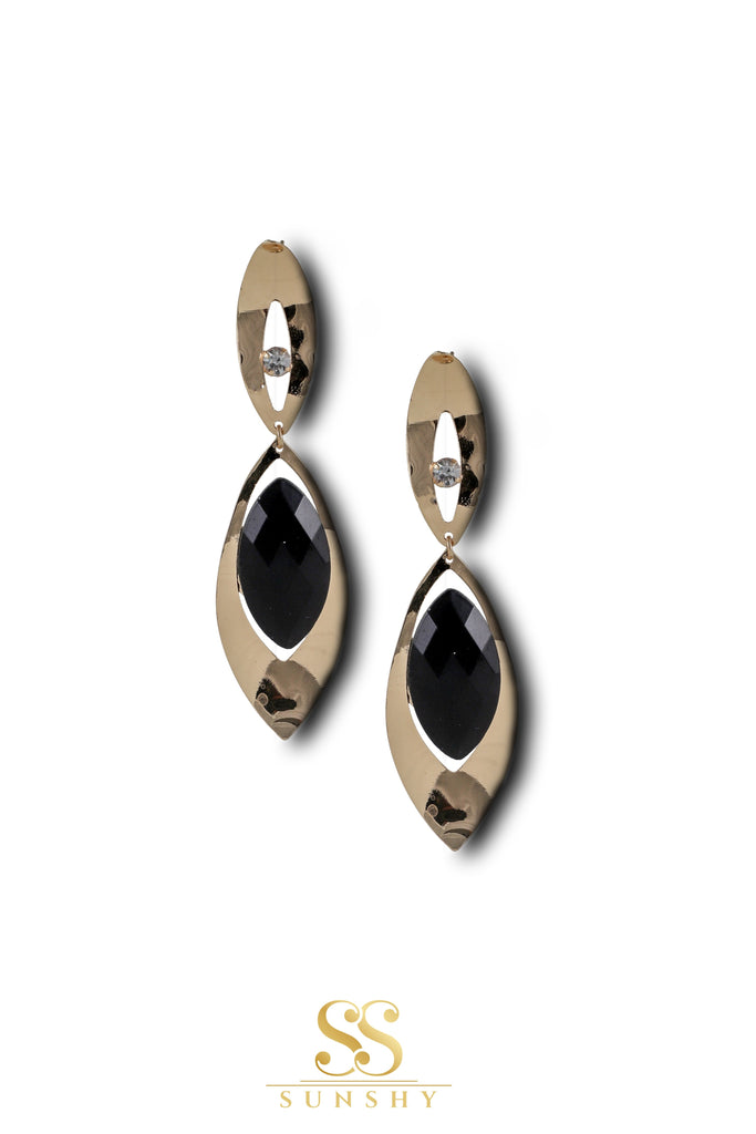 Elena Black Stone Drop Long Earrings