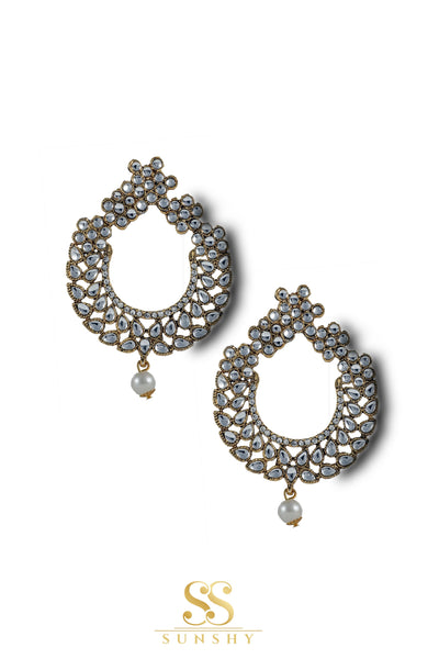 Lavena Clear Stone Studded Long Earrings