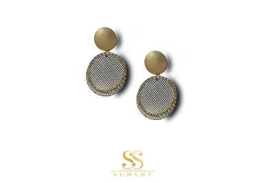 Cairo Stone Studded Metal Plate Earrings