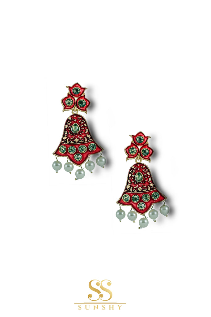 Aadina Sculpted Red Beaded Earrings