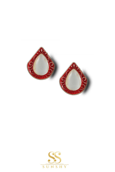 Sculpted Vintage Red Stud Earrings