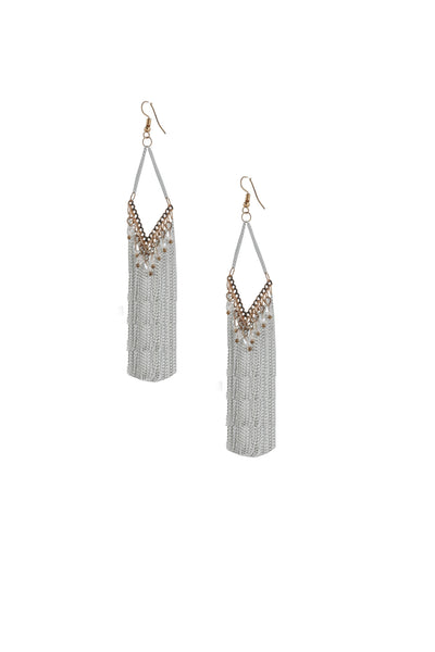 White Chain Drop Long Earrings