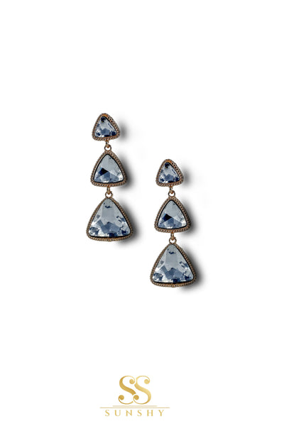 Insianna Clear Stone Drop Earrings