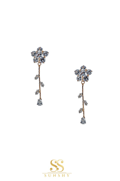 American Diamond Studded Flower Cut Earrings