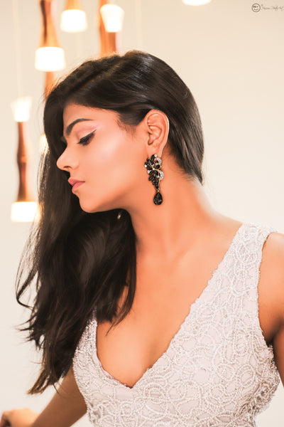 Joana Black Stone Studded Earrings