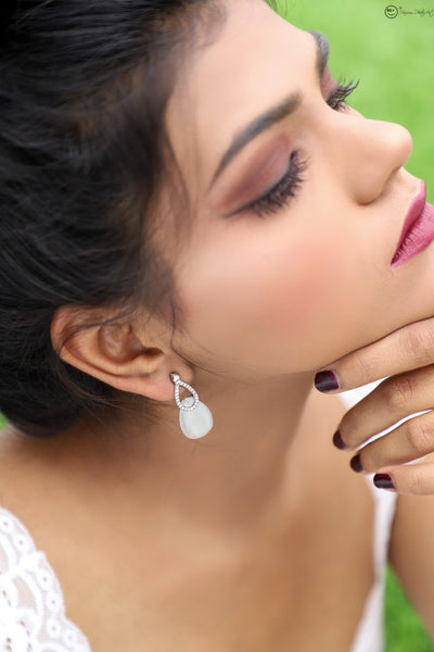 Mandalina Stone Studded Pearl Stud Earrings