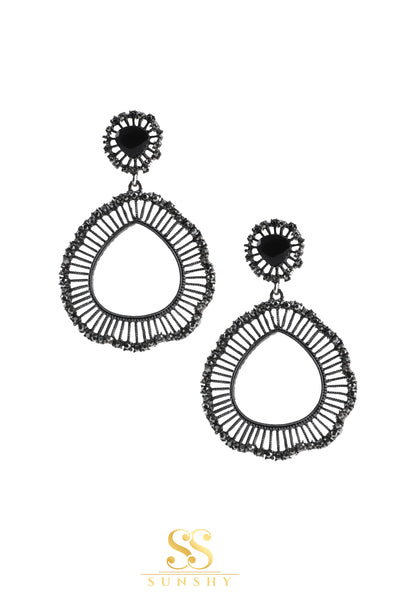 Rubiana Black Metal Cage Round Earrings