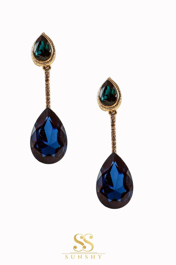 Mariana Aqua Stone Drop Long Earrings