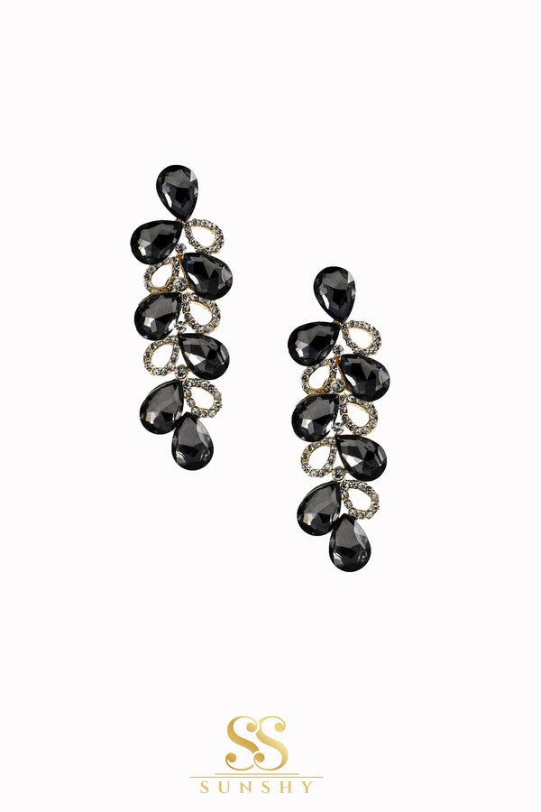 Janette Black Stone Studded Earrings