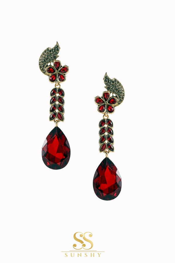 Rebelica Red Stone Studded Long Earrings
