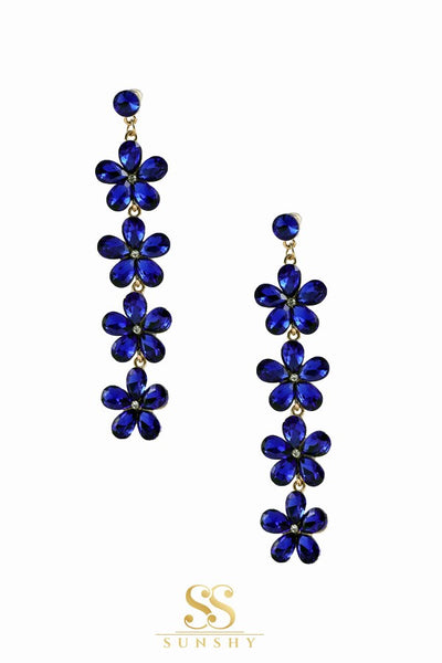 Blue Stone Flower Cut Dropdown Earrings