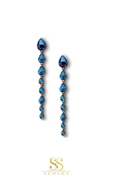 Blue dropdown long earrings