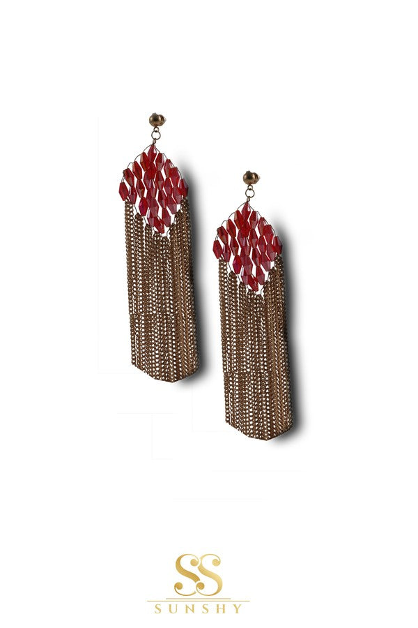 Mary Red Stone Chain Drop Earrings