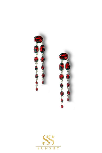 Red Stone Dropdown Earrings