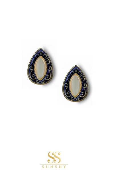 Sculpted Vintage Blue Stud Earrings