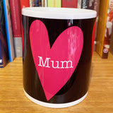 MUM with hearts (red & pink)