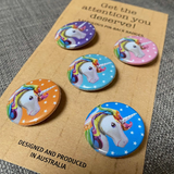 HAPPY UNICORN mini badge set