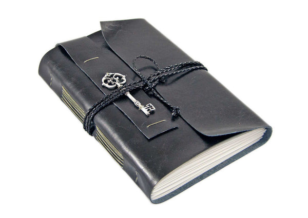 Large Faux Leather Journal with Blank Paper and Key Charm / Vegan