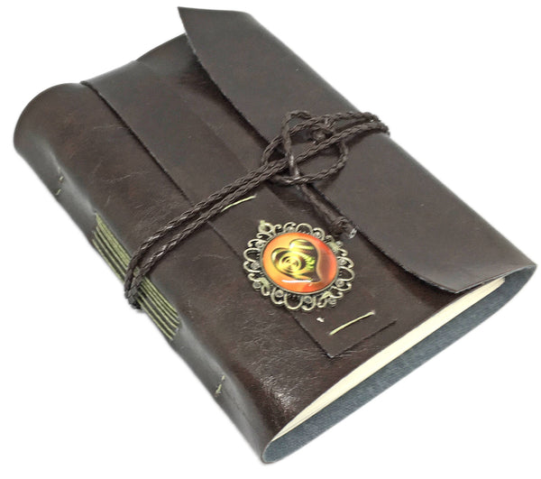 Faux Leather Journal with Blank Pages and Heart Cameo / Dark Brown Vegan Journal