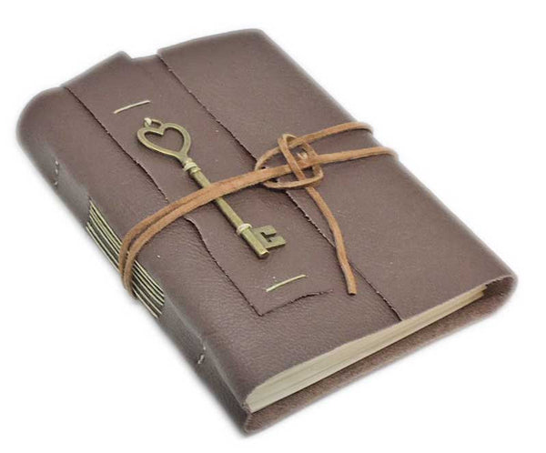 Brown Leather Journal with Blank Paper and Key Heart Key Charm