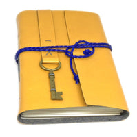Faux Leather Journal with Blank Paper and Key Charm / Bookmark