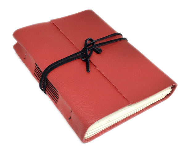 Red Leather Journal with Lined Paper, Journal / Travel Notebook