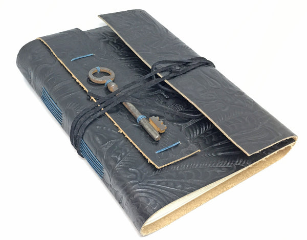Large Black Embossed Leather Journal with Lined Paper and Antique Skeleton Key