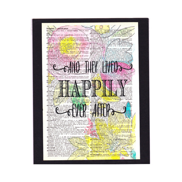 Vintage Dictionary Page Art Print / And They Lived Happily Ever After / Saying / Decor