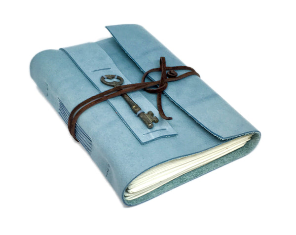 Light Blue Leather Journal with Blank Paper and Skeleton Key