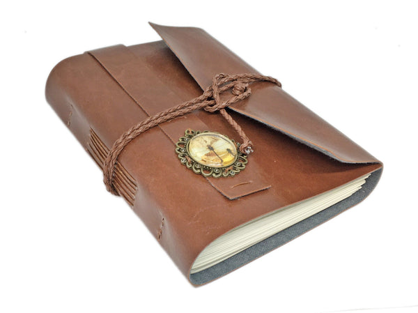Light Brown Faux Leather Journal with Blank Pages and Dragonfly Cameo