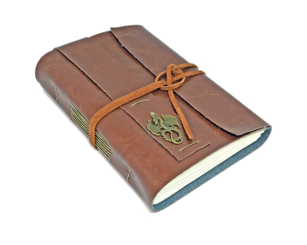 Light Brown Faux Leather Journal with Blank Pages and Dragon Cameo /  Ready to Ship / Vegan / Gift