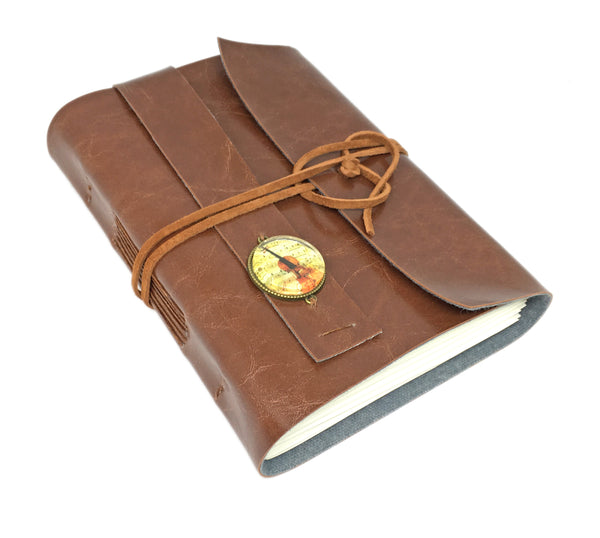 Light Brown Faux Leather Journal with Lined Pages and Music Cameo