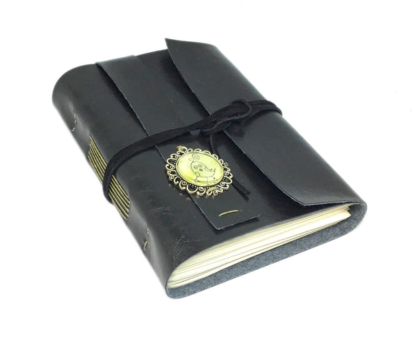 Black Faux Leather Journal with Blank Pages with Bird Cameo / Vegan