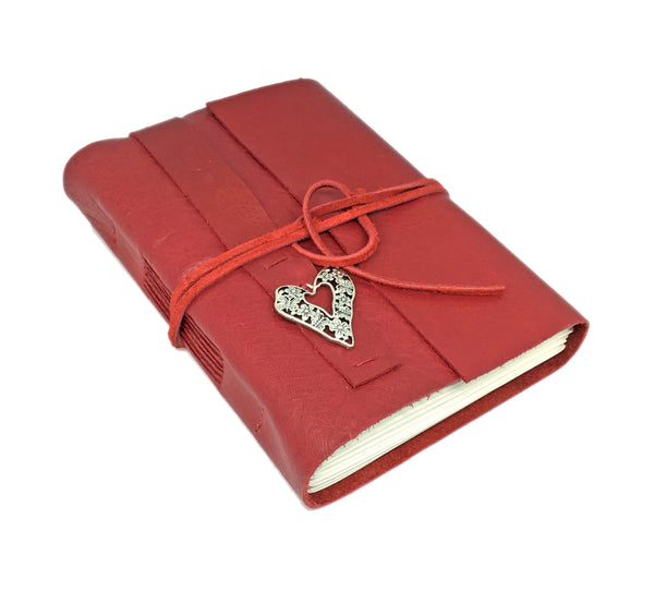 Red Leather Journal with Blank Paper and Heart Charm