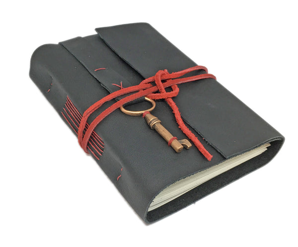 Black Leather Journal with Blank Paper and Bookmark and Key Charm / Ready to Ship