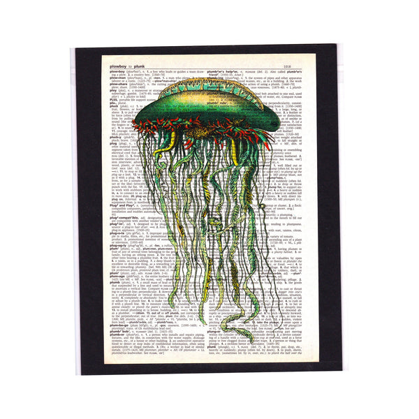 Vintage Dictionary Page Art Print / Jellyfish / Steampunk / Ready to Ship