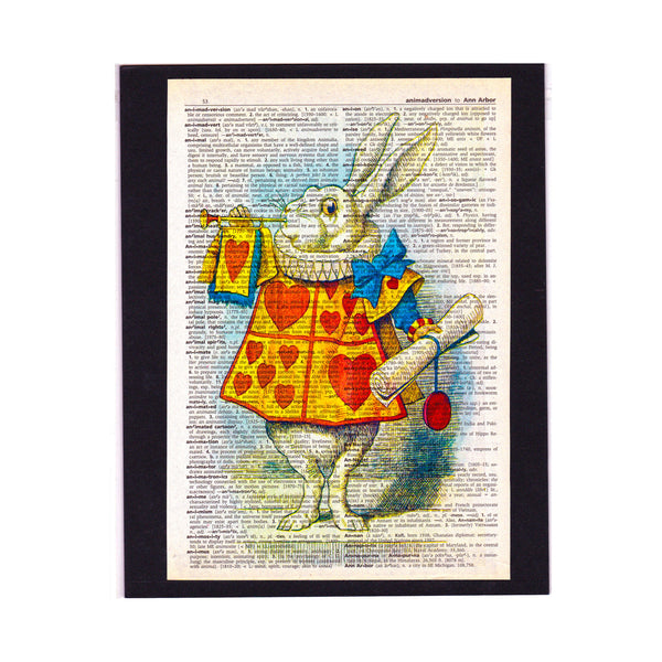 Vintage Dictionary Page Art Print Alice In Wonderland / White Rabbit  / Print / Wall Decor
