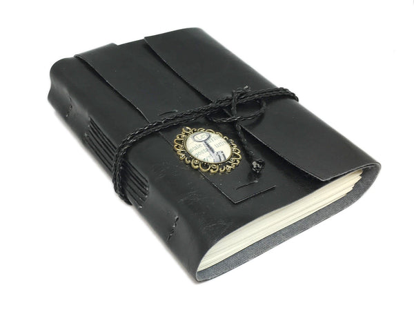 Black Faux Leather Journal with Blank Pages with Key Cameo / Vegan