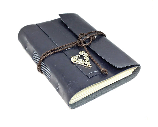 Navy Blue Faux Leather Journal with Blank Pages and Heart Charm / Handmade