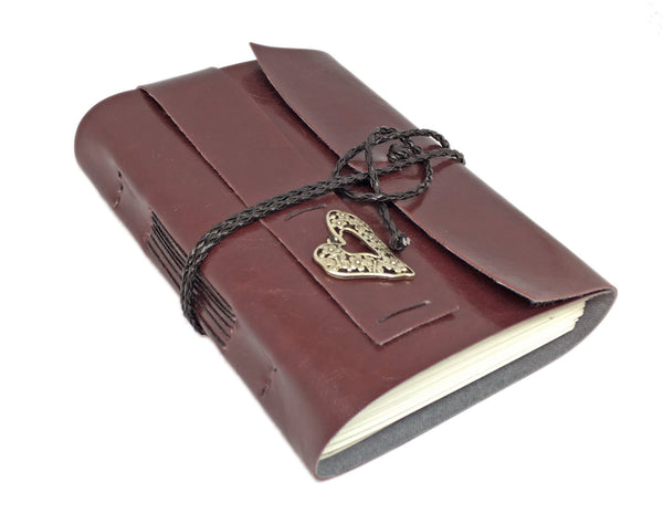 Burgundy Faux Leather Journal with Blank Pages and Heart Charm