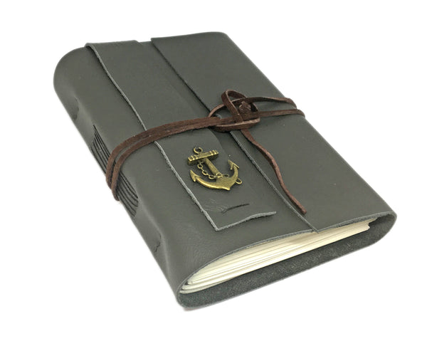 Green Leather Journal with Blank Paper and Anchor Charm